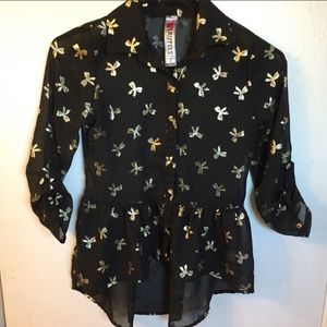 Black Sheer Top With Gold Bows
